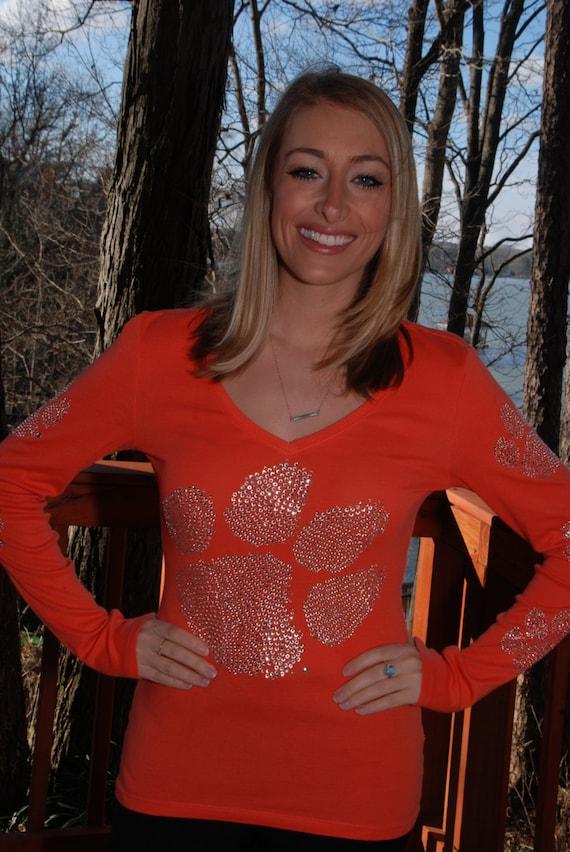 Clemson Tigers rhinestone long sleeved Bling Shirt  S M L XL XXL 1X 2X 3X 4X 5X