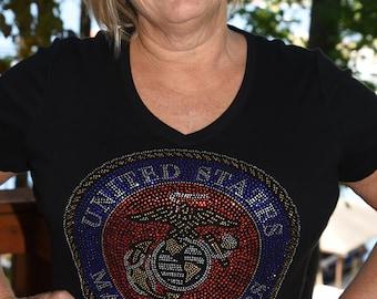 United States Marine Corps rhinestone  bling   shirt,  all sizes XS, S, M, L, XL, XXL, 1X, 2X, 3X, 4X, 5X