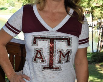 Texas A & M Rhinestone and glitter Bling Shirt S M L XL Junior fit burnout football shirt