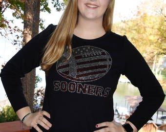 Oklahoma Sooners  Football Rhinestone   Bling Shirt XS S M L XL XXL 1X 2X 3X 4X 5X