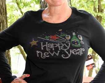 Happy New Year! New Year's Eve rhinestone  bling shirt,  XS, S, M, L, XL, XXL, 1X, 2X, 3X, 4X, 5X