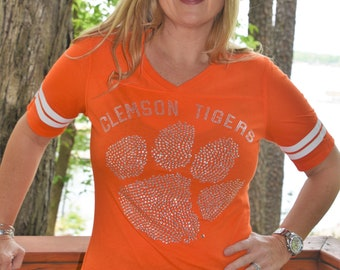 Clemson Tigers Rhinestone  Glitter Bling Shirt S M L XL Junior fit  football shirt