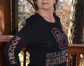 Oklahoma Sooners  Long Sleeved Rhinestone Bling shirt - (XS-5XL) - *OFFICIALLY LICENSED*