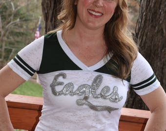 Eagles green & white   Rhinestone Bling Shirt S M L XL Junior fit burnout football shirt