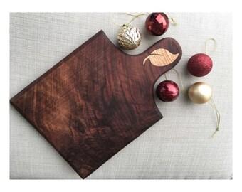 Handmade Walnut Cutting Board with Maple Initial Inlay