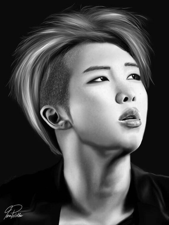 Bts Rap Monster Namjoon Digital Drawing Kpop Etsy