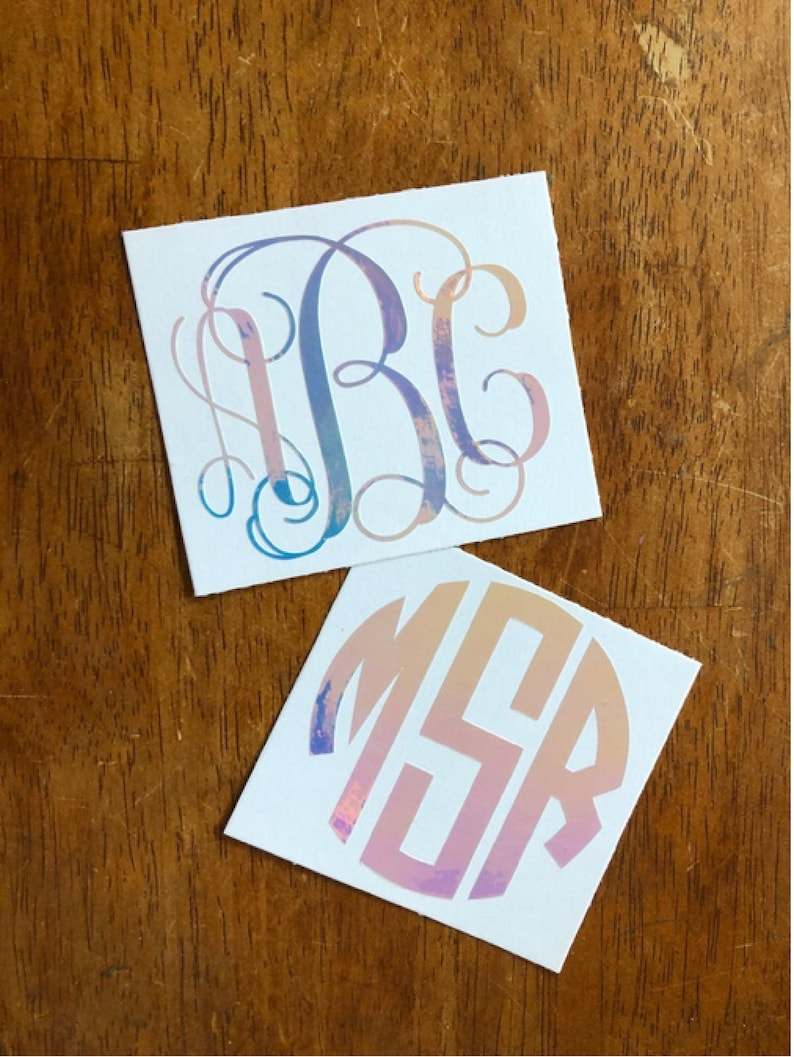 Custom Car Decal Laptop Decal Phone Decal Initials Free Shipping* HOLOGRAPHIC Monogram Decal Vine Monogram Sticker