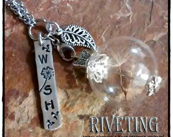 Make Wishes hand stamped necklace with dandelion fluff