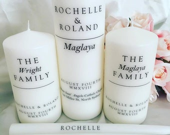 Wedding Unity Candles - Set of 5, Wedding Day, Bride & Groom, Personalised Candles, Unity Candles, Family Candles, White Wedding Candle