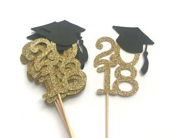 ON SALE!!! 2018 Graduation Toppers - Graduation Toppers, Class of 2018, Cupcake Toppers, Graduation Cap