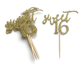 Sweet 16 Topper - Cupcake Toppers, Glitter Topper, Sweet Sixteen Birthday Party