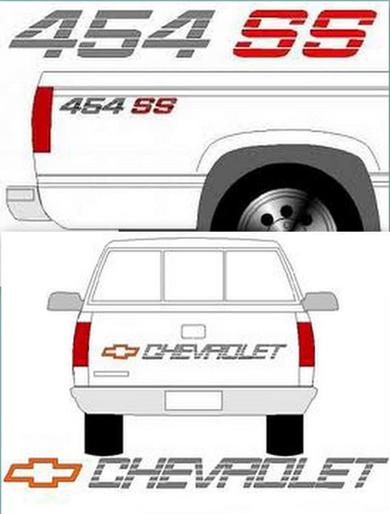 454 SS KIT CHEVY Truck Tailgate & Bedside Decals 90-91 Chevrolet Truck