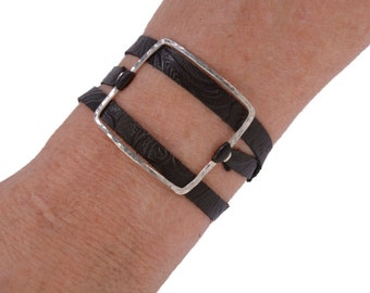 Large LIVING OUTSIDE The BOX leather wrap Bracelet