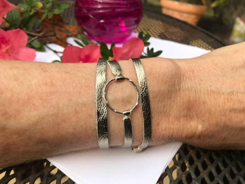 Metallic leather wrap circle bracelet friendship bracelet image 0