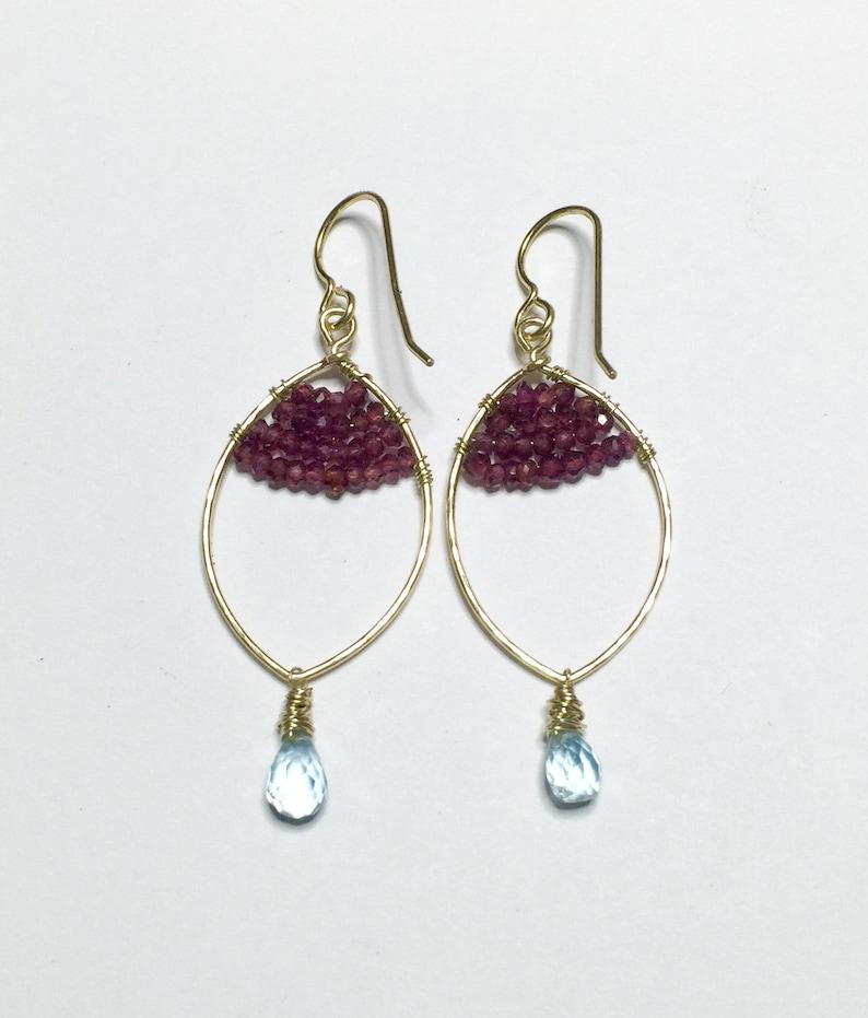 Aqua teardrops earring image 0