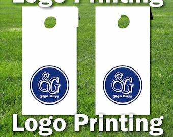 Set of two custom logos for cornhole boards, Printing of 2 business or custom artwork vinyl stickers