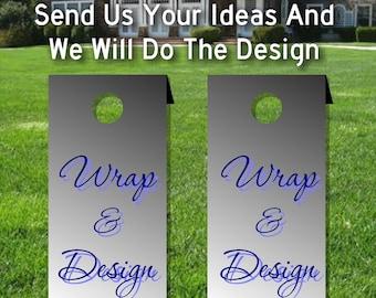 Custom Design & Personalized Cornhole board decal wraps, Football tailgate, Set of two matte vinyl wraps for your cornhole bords