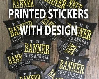 100 custom event stickers WITH DESIGN, waterproof outdoor stickers, company logo branding with die cut stickers
