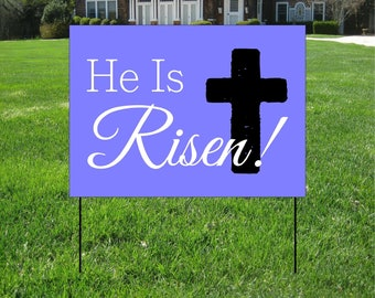 He Has Risen purple and cross Yard Signs, Event Yard Sign, Custom Bag Yard Signs, Easter Directional Sign and Decorations