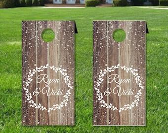 Custom Snow Wood Cornhole board decal wraps, Football tailgate, Wedding games, Set of two matte vinyl wraps for your cornhole bords