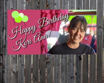 Happy Birthday Banner, Party Banner, Photo Personalized Banner