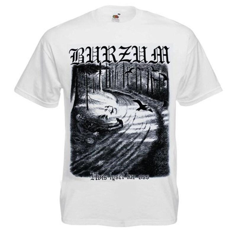 049dd1dfb T-Shirt BURZUM Hvis Lyset Tar Oss White Metal Band Nation Rock   Etsy