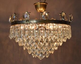 Antique chandelier etsy original vintage crystal chandelier lighting flush crystal chandelier antique french vintage chandelier home living fittings fixture lamp aloadofball Image collections