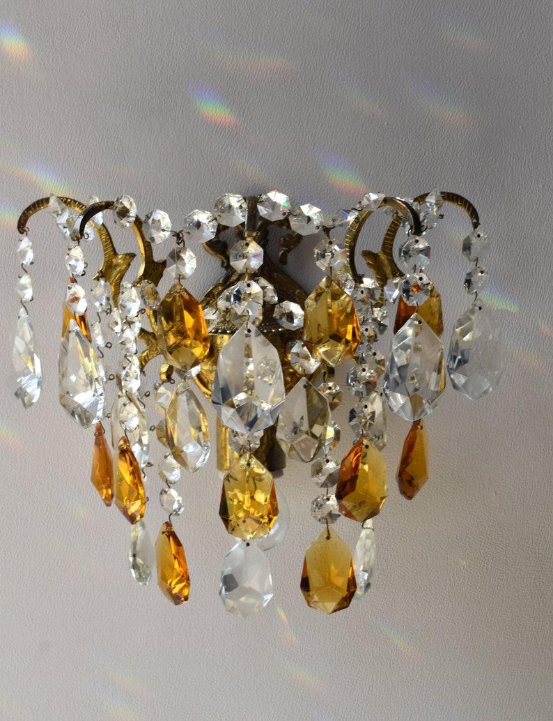 Raro Vintage Antique Wall Light Amber Crystal Chandelier 6jIFmvtv