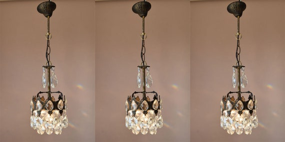 image 0 - THREE MATCHING Vintage Crystal Chandeliers Antique French Etsy