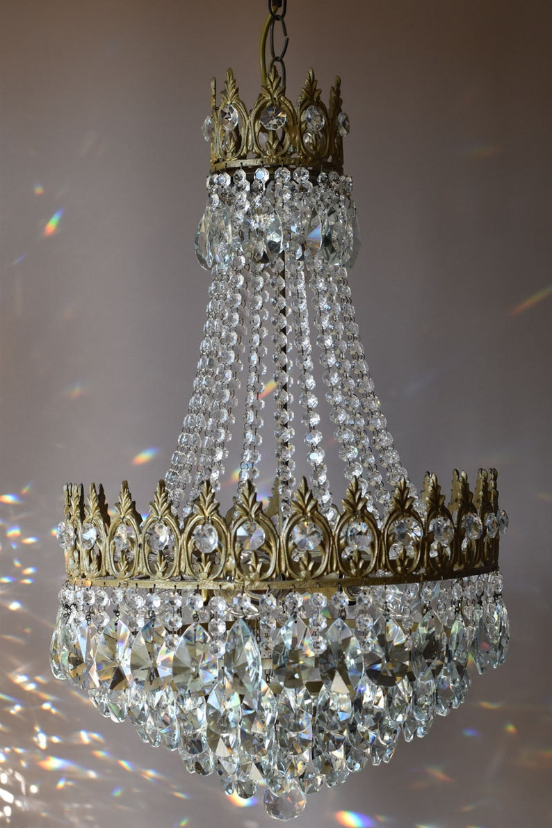 Free express delivery large empire waterfall antique french vintage crystal chandelier lamp old art nouveau lighting classic light fittings