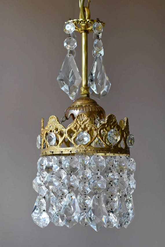 Mini Vintage Crystal Chandelier- Antique French Vintage Crystal Chandelier-Brass  Crystal Lamp -Vintage Crystal Lighting Fittings, Fixture - Mini Vintage Crystal Chandelier Antique French Vintage Etsy