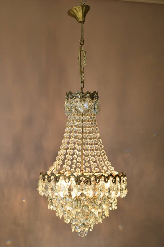 HOME and Living Vintage Crystal Chandelier SALE Antique French Vintage  Crystal Chandelier Oriental Ceiling Fittings & Fixture Old Lighting - HOME And Living Vintage Crystal Chandelier SALE Antique French Etsy