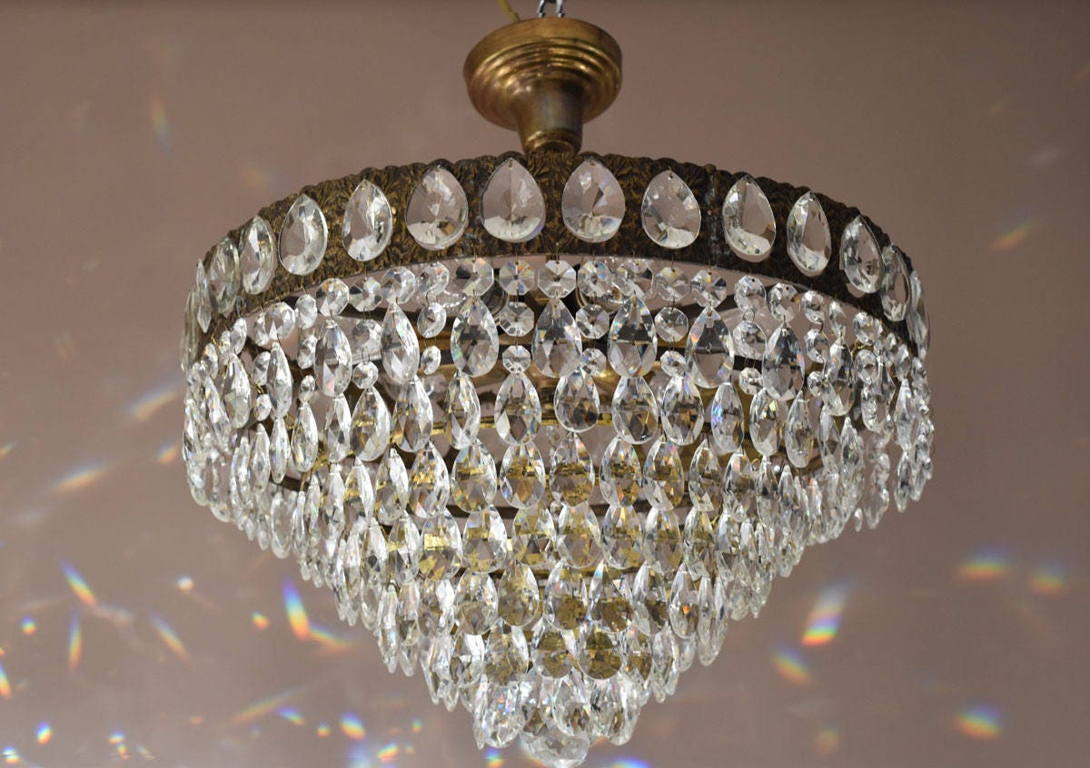 Vintage crystal chandelier for low ceilings flush pendant antique french vintage crystal chandelier lamps vintage crystal light fittings