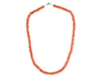 Mediterranean sea red coral barrel necklace.