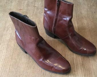 895ed215c9 Cognac Florsheim zip up ankle boots bike toed Cuban heel size 13D