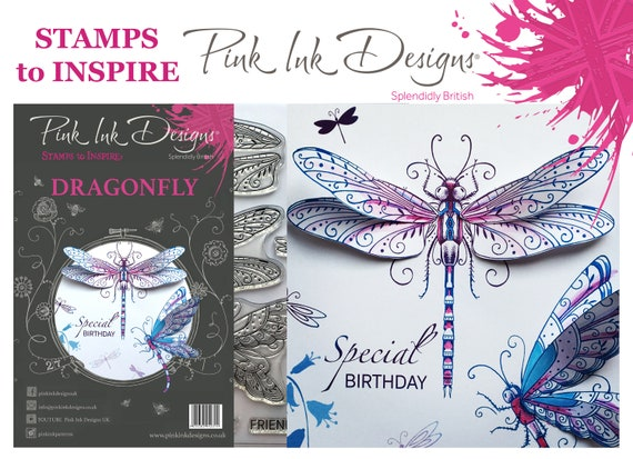 Dragonfly stamp. With bonus fabric