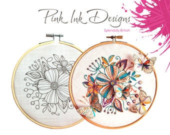 Flower embroidery pattern. Hand drawn floral design.