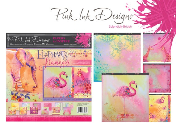 8 x 8 Craft paper pad. Elephants, Giraffes and Flamingos Pink Ink Designs