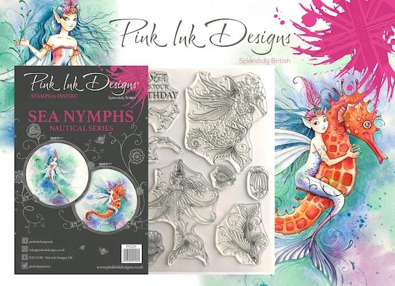 Sea Nymph stamp, mermaid, fairy, with bonus fabric