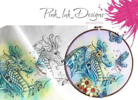 Dragon pattern. Stitch and paint on fabric.