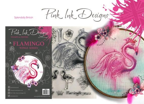 Flamingo stamp with bonus fabric
