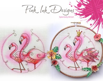 Flamingo embroidery pattern.