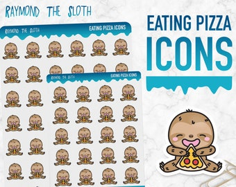 Raymond the Sloth   Eating Pizza Icons   Planner Stickers