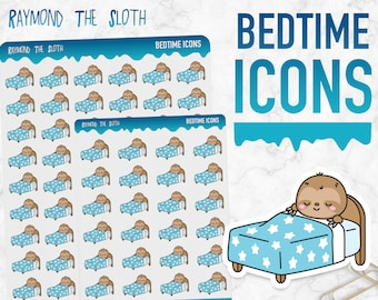 Raymond the Sloth   Bedtime Icons   Planner Stickers