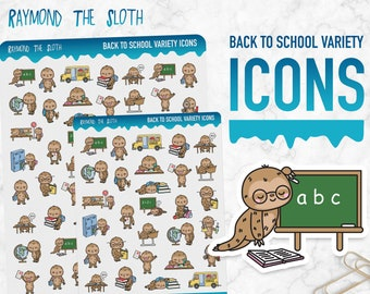 Raymond the Sloth   Back to School Variety Icons   Planner Stickers