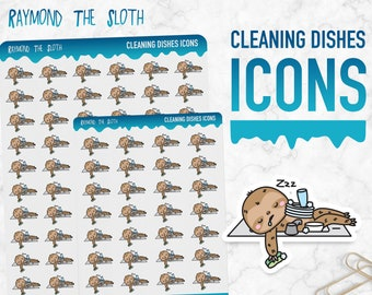 Raymond the Sloth   Cleaning Dishes Icons   Planner Stickers