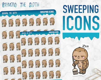 Raymond the Sloth   Sweeping Icons   Planner Stickers