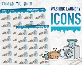 Raymond the Sloth   Washing Laundry Icons   Planner Stickers