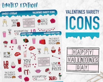 Limited Edition | Valentines Variety Icons | Planner Stickers