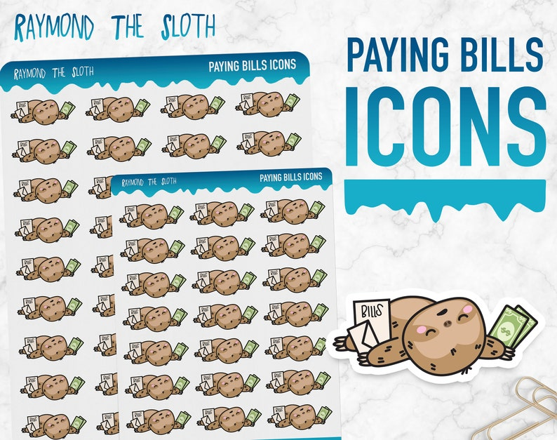 Raymond the Sloth  Paying Bills Icons  Planner Stickers image 0